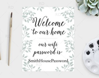 Wifi Password Sign PRINTABLE Wall Art / Guest Room Wall Art / Guest room wifi password sign / Welcome wifi print / Wifi password print