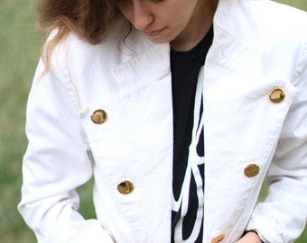 Vintage Nautical Sailor Jacket - USA - White with Gold Buttons - Size 8