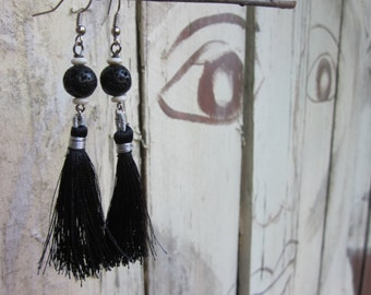 boho earrings white bone beads, black lava stone earrings black tassel earrings yogi yoga bohemian earrings gypsy dangle & drop earrings