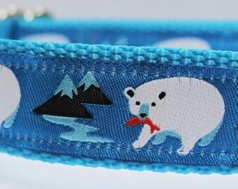 Blue Polar Bear Dog Collar/Adjustable/Bear/Nature/Pet Collar