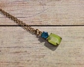 Carribean Blue Swarovski Crystal & Yellow Givre Necklace, Blue Zircon Necklace, Givre Necklace, Simple Jewelry, Vintage Swarovski Crystal