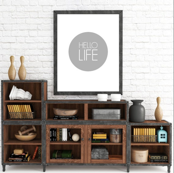 Gray Minimalist, Minimalist Poster, Hello Life, Typography Print, Home Decor Print, Instant Download, Wall Art Prints, ADOPTION FUNDRAISER