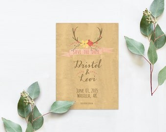 Antler Weddings / Rustic Chic Weddings Save The Date Cards / PRINTED 5x7 inches