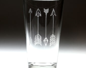 Custom personalized 4 arrows engraved glass