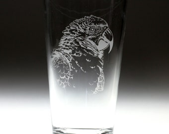Personalized Parrot dog Etched Sandblasted Pint Glass, bird gift, parrot gift, christmas gift,