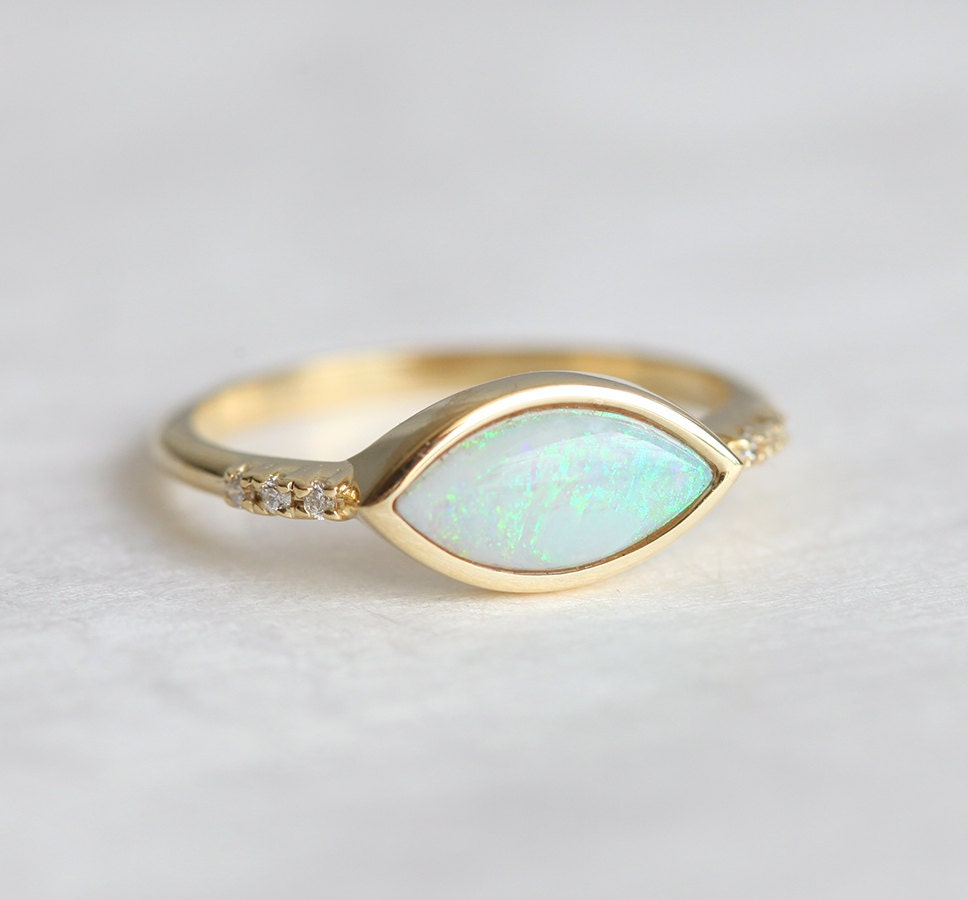 Opal Engagement Rings: Gold Opal Ring Marquise Opal Engagement Ring Australian Opal