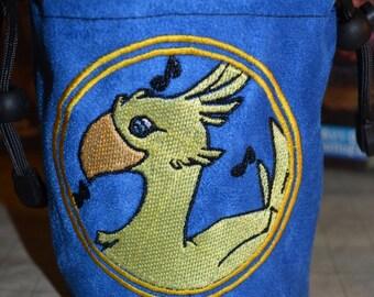 Dice Bag custom Embroidery blue Suede Chocobo