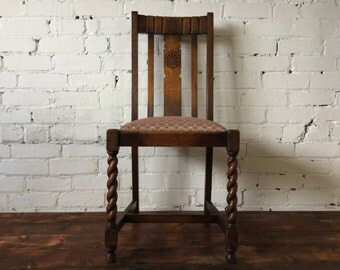 SOLD***Antique Oak Barley Twist Chair