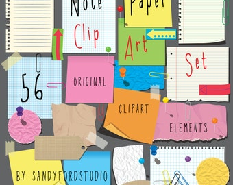 Ripped Note Paper - Post it Notes - Paper Clips and Pins - 56 Piece ClipArt Collection - Instant Download