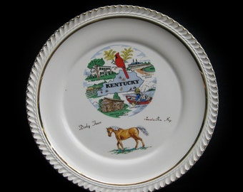 Vintage KENTUCKY State Derby Town Souvenir 23K Gold Plate, State Collectible Plate, USA Travel Decor, 50 States Road Trip Travel