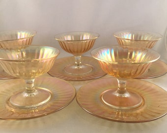 Vintage 1950's Ribbed Carnival Glass, Sherbet Dishes With Plates, Set of 5