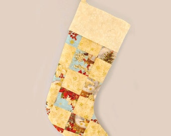 Christmas quilted stocking, handmade lined gold and blue patchwork Xmas stocking with cuff and tag