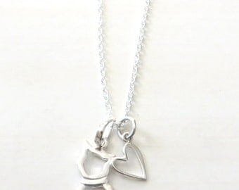 Love My Cat Sterling Silver Charm Necklace YOU Select Chain Length