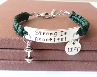 Strong is Beautiful Workout LIFT Weight Lifting Bodybuilding Barbell Charm Bracelet You Choose Your Cord Color(s)