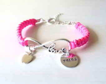 Love to Teach Charm Infinity Bracelet Optional Apple Charm You Choose Your Cord Color(s)