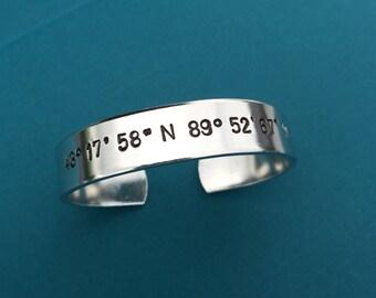 "Coordinates Bracelet Hand Stamped Aluminum 1/2"" Wide Cuff - Personalized Gift Jewelry Bangle Favorite Place GPS Latitude Longitude Location"