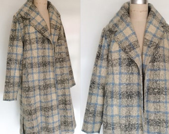 PLUS SIZE Vintage 50s Gray and Blue Plaid Wool Tweed Shawl Collar Winter Swing Coat