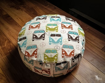 Zafu Pouf Meditation cushion Wanderlust buckwheat washable pillow with lining yoga gear - handmade by Creations Mariposa ZP-W