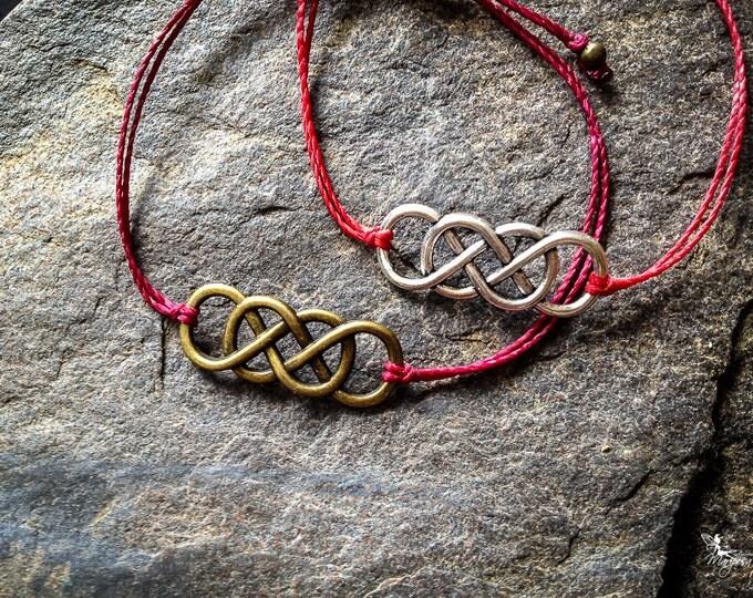 Red string bracelet Double Infinity sign yoga meditation crimson thread symbol boho jewelry kabbalah by Creations Mariposa