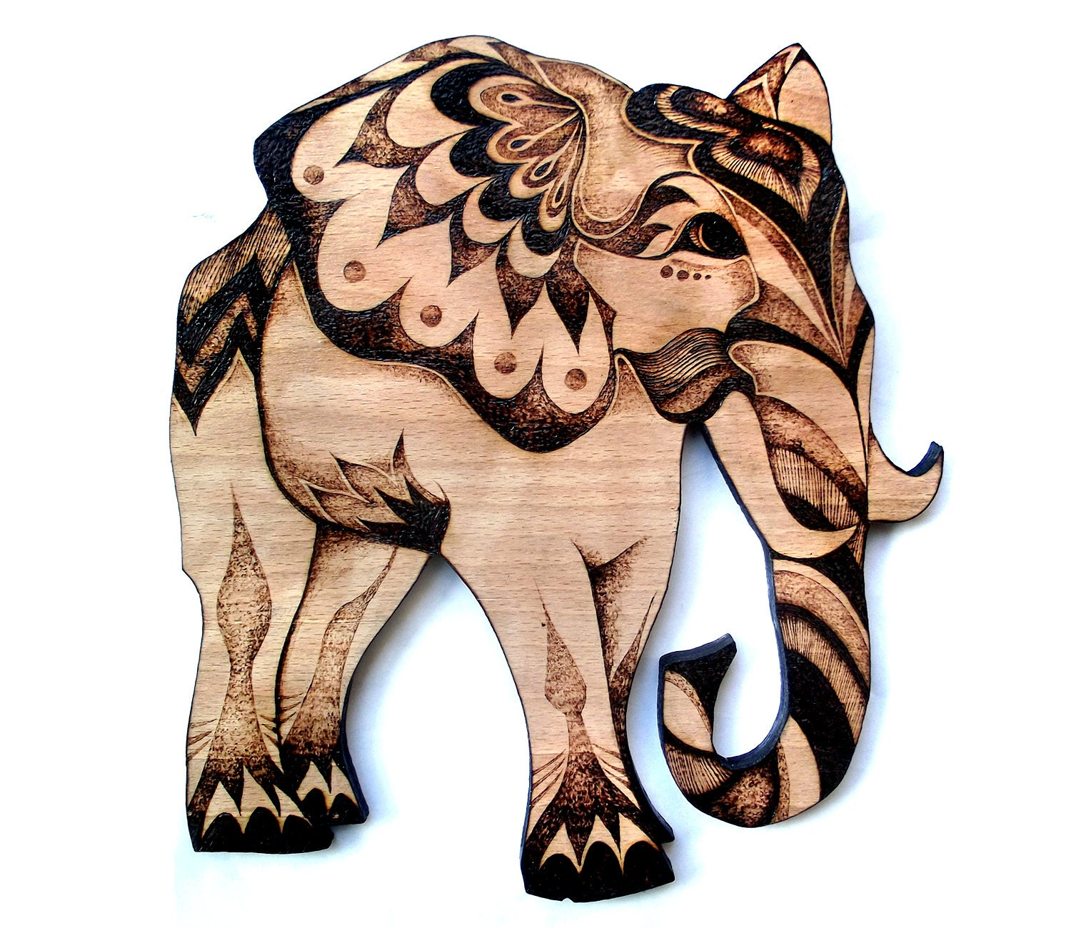 Elephant Wall Art Wood Wall Hanging Pyrography By