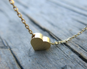 Gold Heart Necklace, Dainty Necklace, Simple Necklace, Everyday Necklace, Bridesmaids Necklace