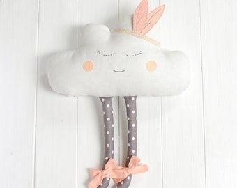 Cloud Pillow Cloud cushion Pillow Cloud Plush Happy Cloud Nursery Decor Nurse gift Feather headband Babyshower gift Nursery Decor girl