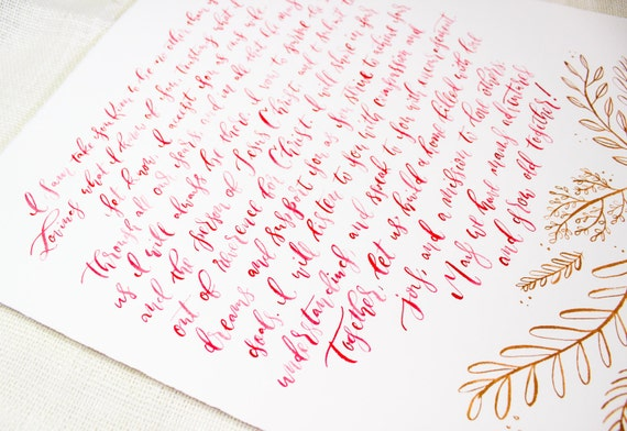 Watercolor calligraphy with metallic gold embellishment