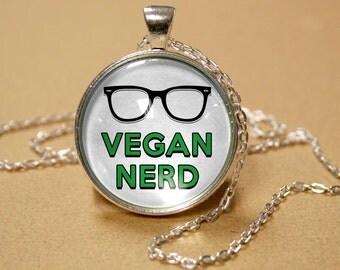 Vegan Nerd Glasses Pendant Necklace - Glass Art Original Silver Jewelry Vegetarian Health Diet Lifestyle Geek Design Gift FREE SHIPPING