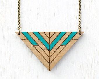 Inca - Geometric Tribal Wood Necklace - Aqua - laser cut