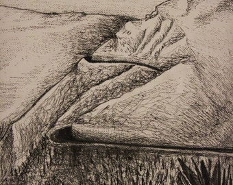 Winding Road through the hills - Black Line Drawing by Eilidh Morris Art - landscape Illustration - Peru mountains Road Trail