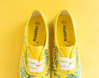 Hand painted Women Canvas Shoes, yellow sneakers with floral ornament: Fresh Grass