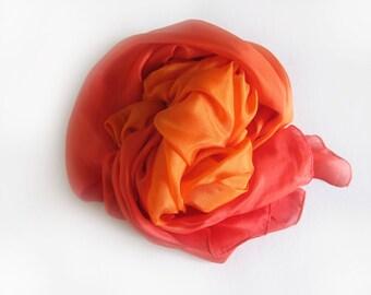 Sunset Orange Ombre Dip Dye Silk Scarf