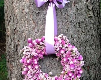 "10"" Handmade Circular Wreath,Pink, Purple, Raspberry, Lavendar, Dried Flowers, Statice, Gomphrena, Moss, Ribbon, Wedding Decor, Housewarming"