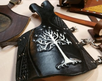 Tree of Gondor Themed Full Length Arm guard / Bow Hand Glove - Hand Tooled and Painted Leather Archery Guard