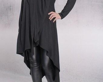 Vest, Asymmetric vest, Asymmetric cardigan, Woman vest, Black vest by UrbanMood - FP-LORI-CO
