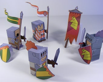 Medieval knights and soldier Mini-people paper toys. Cut, assemble and play. Instant download.