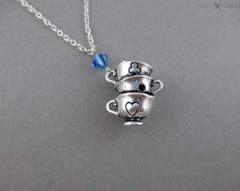 Teacups Charm Necklace - Silver