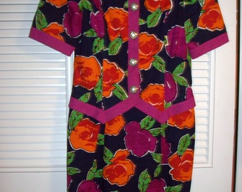 Vintage David Warren Pink and Orange Alive Exciting Dress For Being Seen !  Size 4 - 6