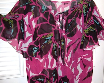 Vintage Sheer Summer  Over -Blouse - Top To Finish Off Your Fav Shorts and Capris Large