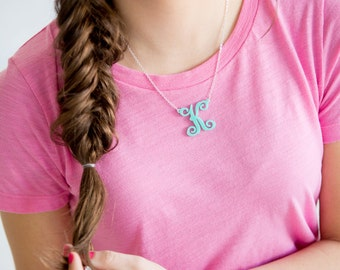Single Initial Acrylic Necklace ~ Silver or Gold