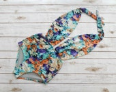 Swimsuit High Waisted Vintage Style One Piece  Retro Pinup Bathing Suit  Tropical Aqua Purple Floral Design Plunge Neck Maillot Swimwear
