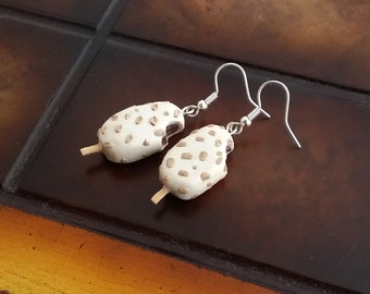 Ice cream earrings handmade from polymer Clay, white chocolate stick ice cream miniature earrings, miniature food, Summer jewelry, yummy