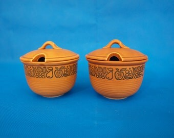 Honey/ jam pots, terra cotta color,