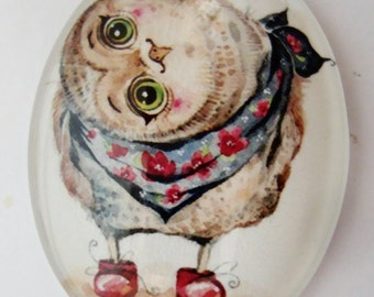 Owl Glass Dome Cabochon 30 x 40mm