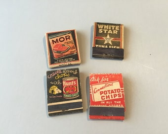 VINTAGE MATCHBOOK, Potato Chip advertising, White Star tuna, Hunt's Tomato Sauce, Canned meat promo, front strike book, vintage advertising