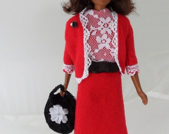 Handmade Francie Clothes 11 Inch Francie Doll Clothes Mod Teen Fashion Doll Apparel Barbie Francie Fashions Outfit Red Dress & Jacket