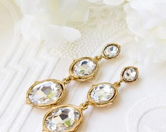 Gold Earrings, Gold Bridal Earrings, Wedding Jewelry, Gold Wedding Earrings, Bridal Jewelry, Dangle Earrings, Gold Drop Earrings E148G