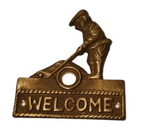 Brass Door Plate, Door Hardware, Antique Brass, Golfer, Door Bell Plate,