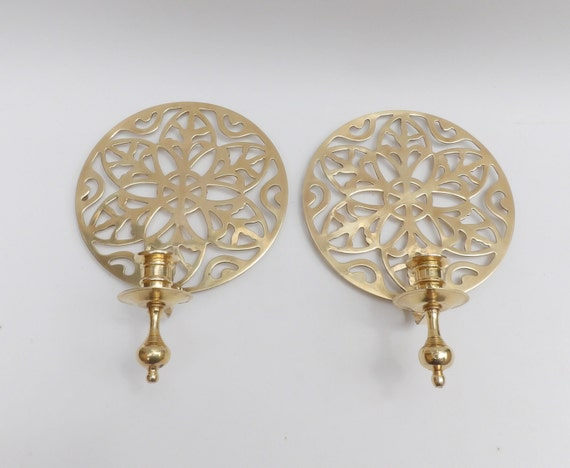 Circular Wall Sconce Candle Holder : Mid Century Modern Round Brass Candle Holders Pair Danish