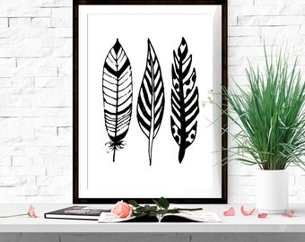 Black and white feather print Black and white wall art Abstract wall decor Feather art Feather printable 5x7 8x10 16x20 INSTANT DOWNLOAD